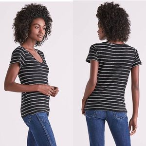 Lucky Brand Stripe Fitted Short Sleeve Tee